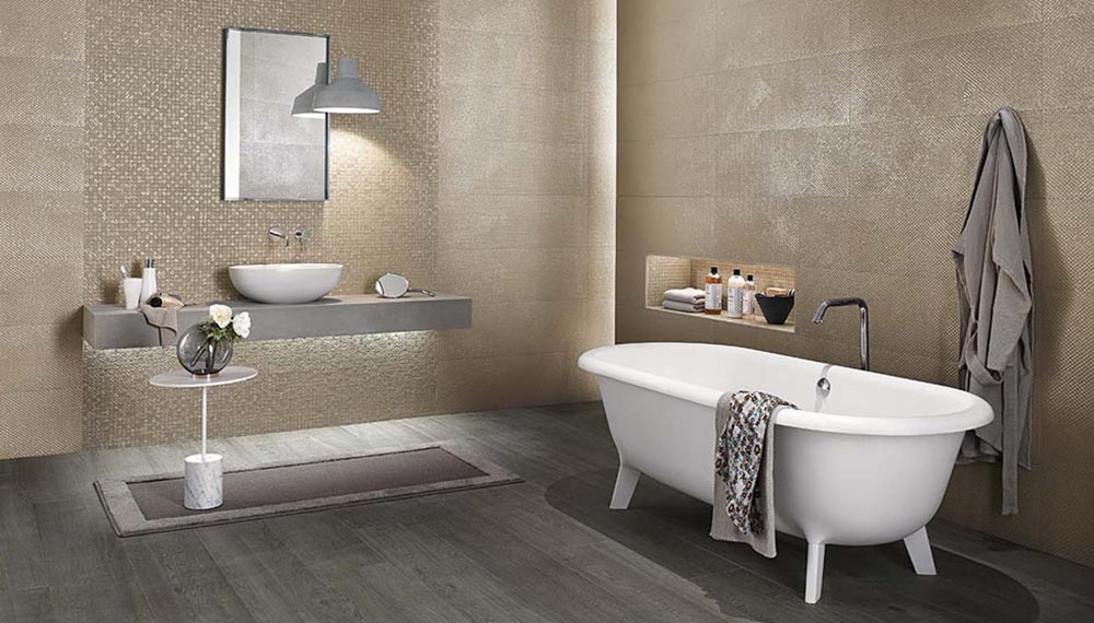 Bagno contemporaneo con le piastrelle in gres porcellanato dimora - Piastrelle bagno gres porcellanato ...